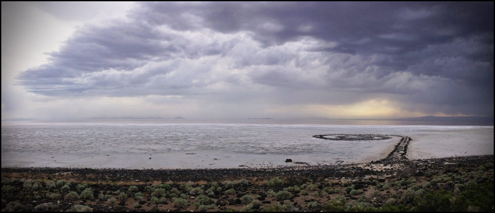 Robert Smithson's Spiral Jetty with approaching sand and salt storm, Rozel Point, Great Salt Lake, Utah, 2015